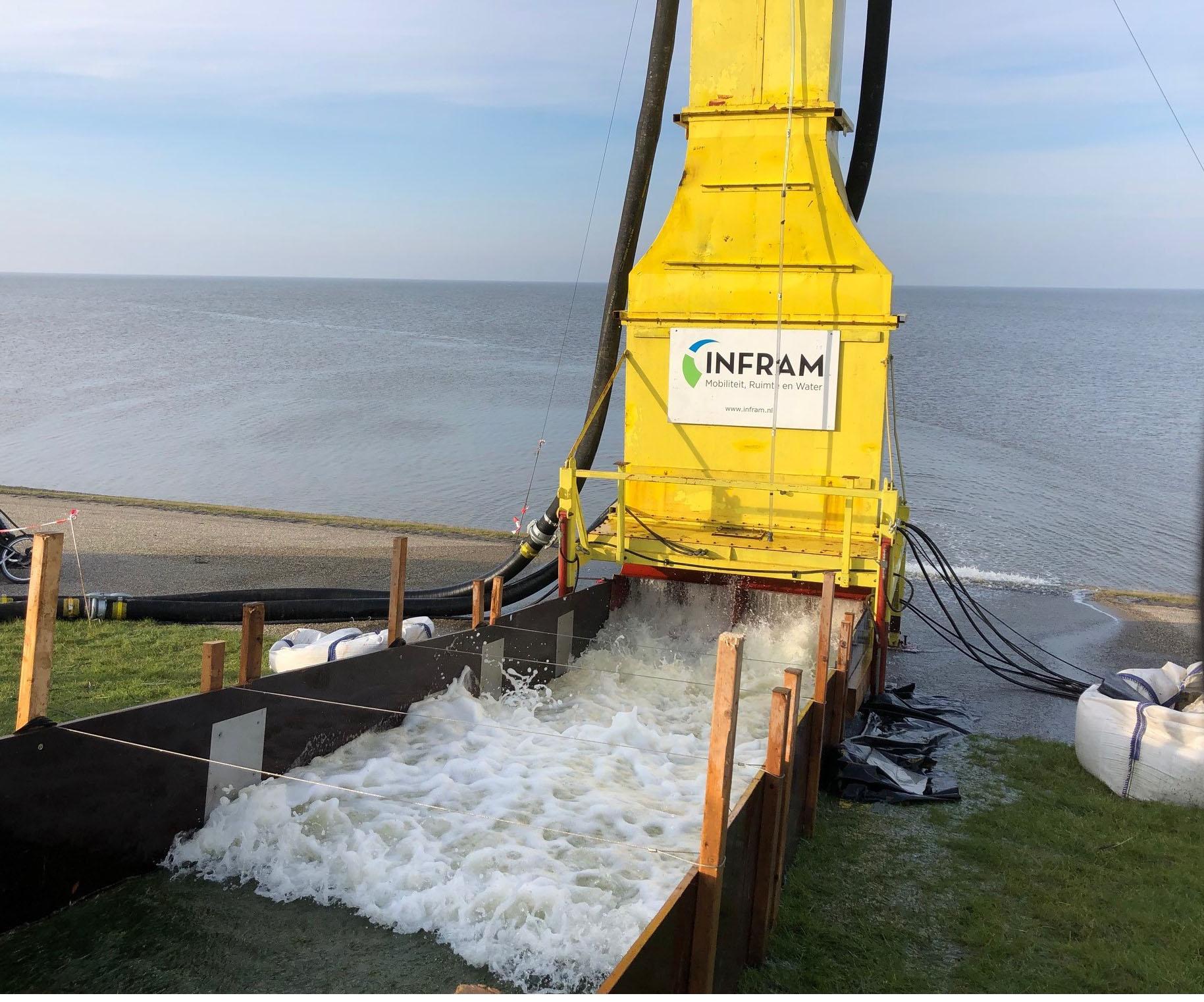 Foto van simulatie golven op de dijk