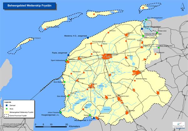 Een kaart van ons beheergebied met de belangrijkste sluizen en gemalen