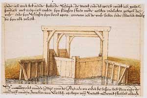 Historische tekening van een sluis
